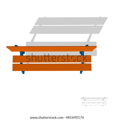Park Bench Isolated On White Background 3d Vector IllustrationTop View