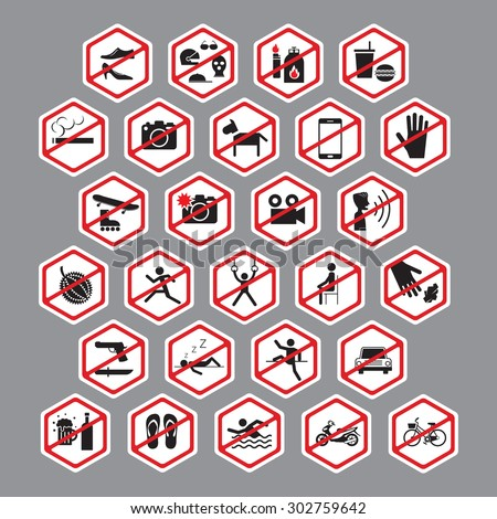 Park, Building, Store, Public Prohibition Signs, Stop, No, Forbidden, Backslash, Hexagon Form Symbol Set - stock vector