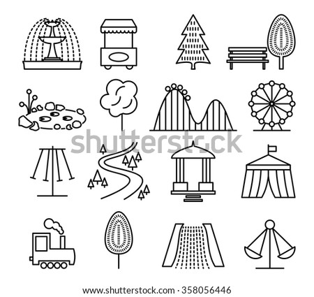Amusement Park Icons Children Play On Stock Vector