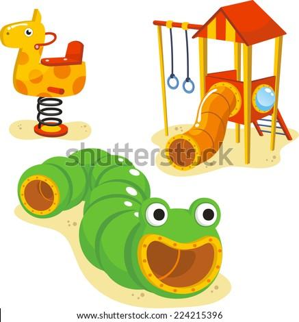 Park Playground Equipment set for Children Playing Stations vector illustration. - stock vector