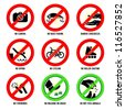 Park prohibited signs and ecology warnings, set II - stock vector