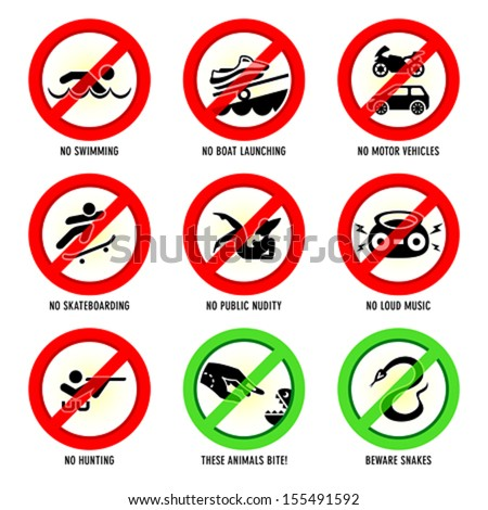 Park prohibited signs and ecology warnings, set III - stock vector