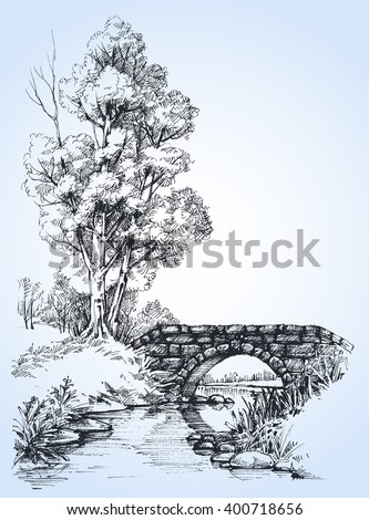 Park sketch, a stone bridge over river in the forest - stock vector