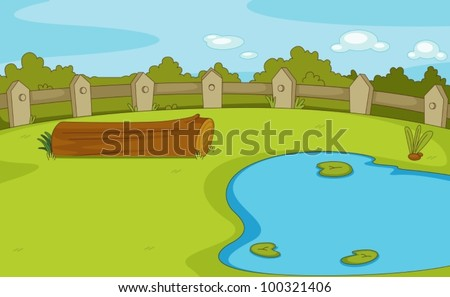 Park with log and pond empty - stock vector