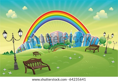 Park with rainbow. Funny cartoon and vector scene. - stock vector