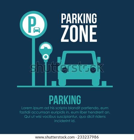 Parking design over white background, vector illustration. - stock vector