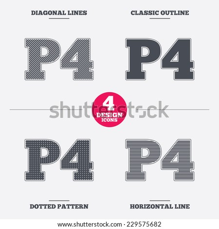 Parking Fourth Floor Sign Icon Car P4 Symbol Diagonal And Horizontal Lines