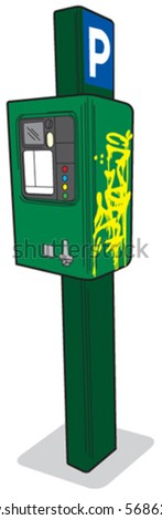 Parking meter 1 right view - stock vector