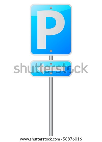 parking sign on white