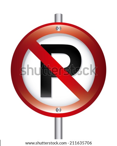 parking signal over white  background vector illustration
