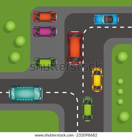 Parking space background with various vector cars, top view position - stock vector