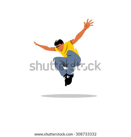Parkour athlete jumping sign. Free running, youth, sport and lifestyle concept. Risky Boy vault. Vector Illustration. Branding Identity Corporate logo design template Isolated on a white background