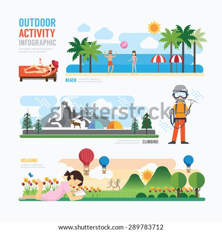 parks and outdoor activityTemplate Design Infographic. Concept Vector Illustration  - stock vector