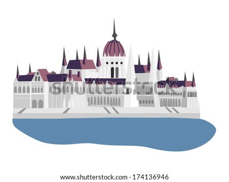 Parliament of Hungary, Budapest, vector illustration - stock vector