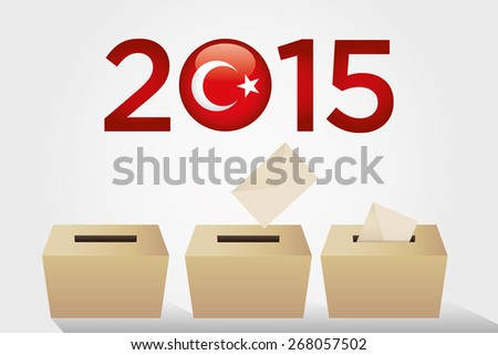 Parliamentary elections in Turkey 2015. Ballot Box - Turkish Flag Symbol, White Background. - stock vector