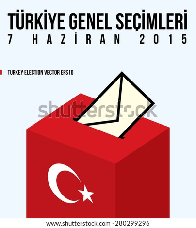 Parliamentary elections in Turkey 2015. English:TURKEY GENERAL ELECTIONS - JUNE 7.  - stock vector