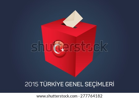 Parliamentary elections in Turkey 2015. English: Turkey General Elections. Red Ballot Box - Turkish Flag Symbol, Navy Background - stock vector