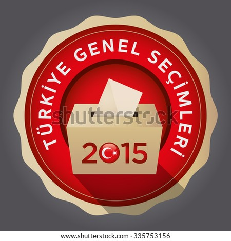 Parliamentary elections in Turkey 2015. English: Turkey General Elections. Turkey Map and Ballot Box - Turkish Flag Symbol, Gray Background - stock vector