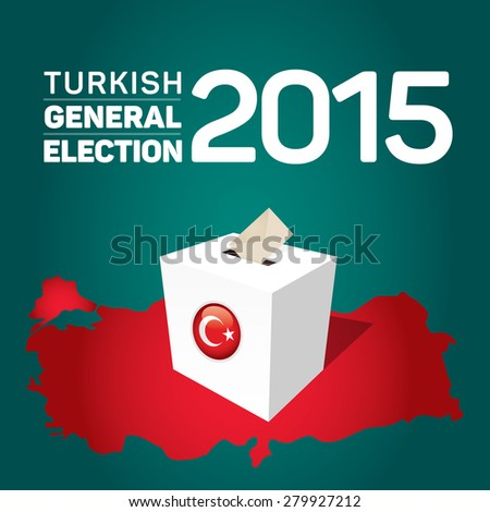 Parliamentary elections in Turkey 2015. Turkey Map and Ballot Box - Turkish Flag Symbol, Green Background - stock vector
