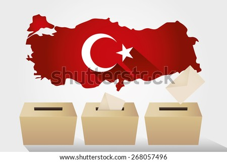 Parliamentary elections in Turkey 2015.Turkey Map and Ballot Box - Turkish Flag Symbol, White Background - stock vector