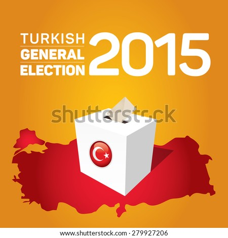 Parliamentary elections in Turkey 2015. Turkey Map and Ballot Box - Turkish Flag Symbol, Yellow Background - stock vector