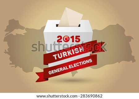 Parliamentary elections in Turkey 2015. Turkey Map and White Ballot Box - Turkish Flag Symbol, Gold Background - stock vector