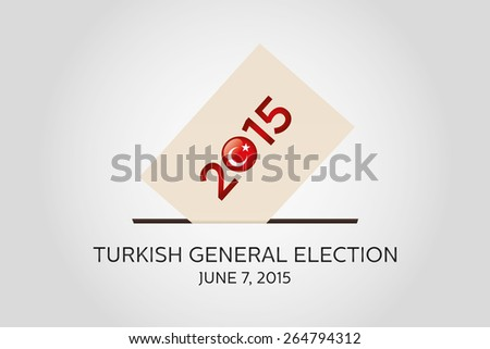 Parliamentary elections in Turkey 2015. Turkish Flag symbol and Ballot Box in a white background - stock vector