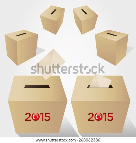 Parliamentary elections in Turkey 2015. Turkish Flag symbol and Ballot Boxes in a white background. - stock vector