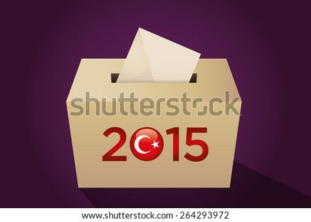 Parliamentary elections in Turkey 2015. Turkish symbol and gold election ballot box for collecting votes in a purple background. - stock vector