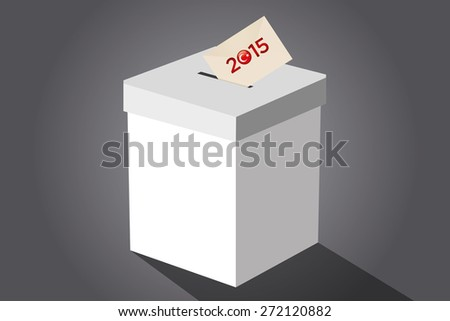 Parliamentary elections in Turkey 2015. Turkish symbol and white election ballot box for collecting votes in a gray background. - stock vector