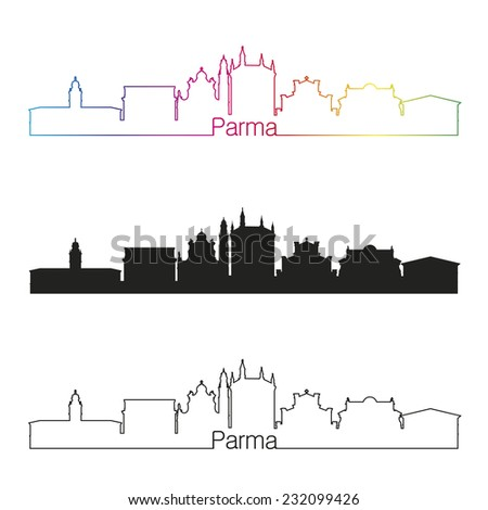 Parma skyline linear style with rainbow in editable vector file