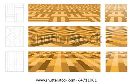 Parquet in perspective plane. Set of vector illustrations - stock vector