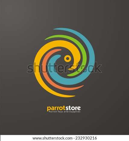 Parrot abstract logo design template. Promotional symbol for pet shop. Bird store icon concept. Colorful vector ZOO creative idea. - stock vector