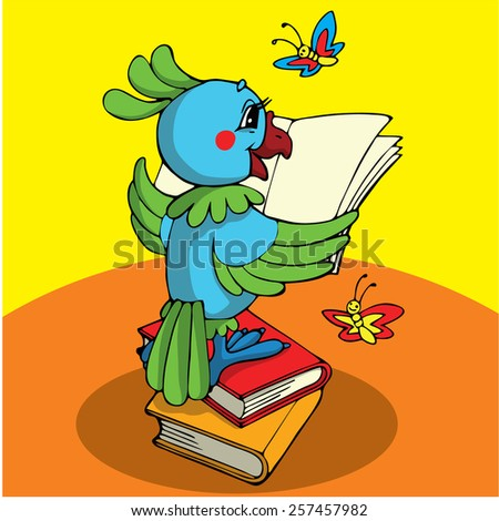 Parrot and book. Vector character. - stock vector