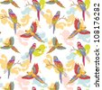 Parrot ara seamless grunge colorful pattern - stock photo