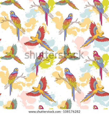Parrot ara seamless grunge colorful pattern - stock vector