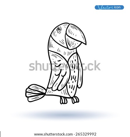 Parrot icon hand drawn vector illustration. - stock vector