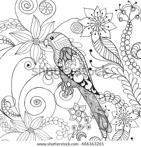 Coloring Pictures Of Animals And Flowers : Parrot fantasy flowers animals hand drawn stock vector 466363265