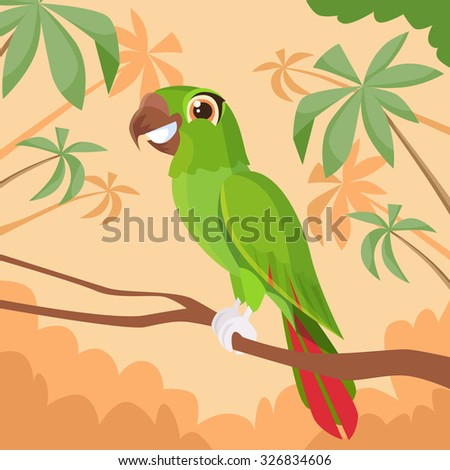 Parrot Sitting on Tree Branch Colorful Tropical Jungle Flat Vector Illustration