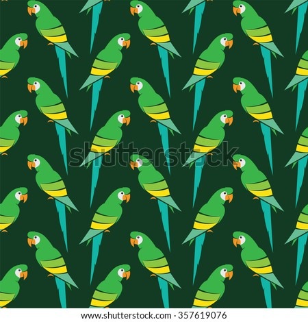 Parrot vector art background design for fabric and decor. Seamless pattern - stock vector