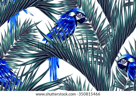 Parrots, tropical palm leaves seamless vector floral jungle pattern background - stock vector