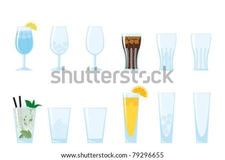 Part of a collection of glasses and drinks.