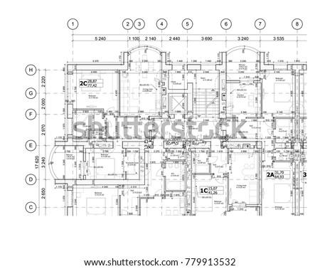 Part Detailed Architectural Plan Floor Plan Stock Vector 779913532 ...