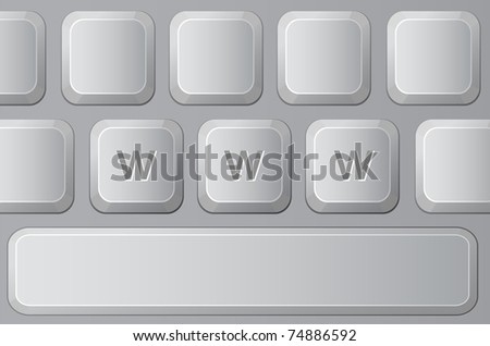 Part of Keyboard with Letters W. Vector illustration - stock vector