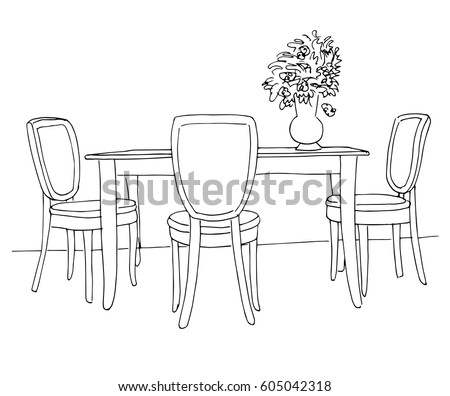 Part Dining Room Table Chairs Table Stock Vector 605042318