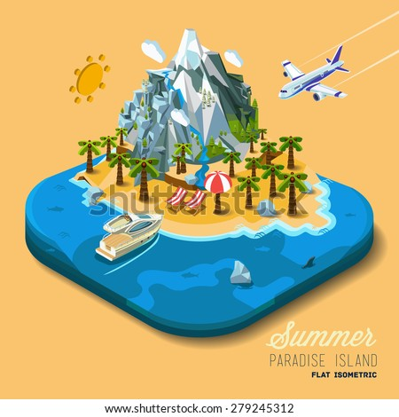 Part of the land to the sea and the mountains, palm trees and a yacht, paradise, summer vacation, sea, ocean, on the beach. Travel, hop on a plane. Vector work flat isometric 3D concept. - stock vector