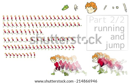 part 2/2. The object (cartoon man) has separate bodys' parts fo your correct or new animation by you. - stock vector