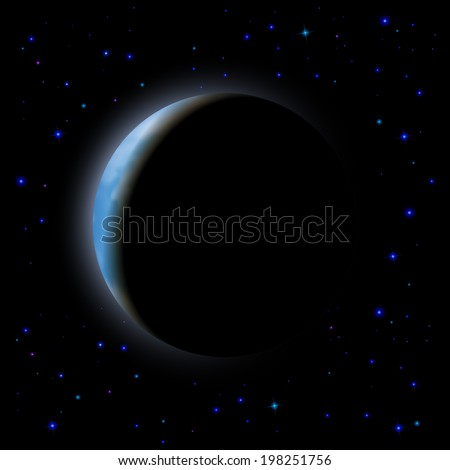 Partial eclipse of the moon in shadow space right side - stock vector