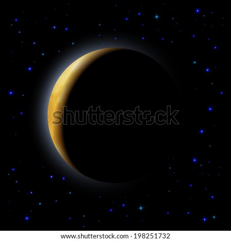 Partial eclipse of the moon in space - stock vector