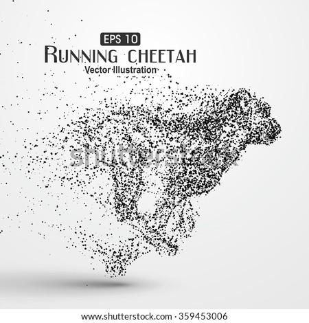 Particle cheetah, vector illustration. - stock vector